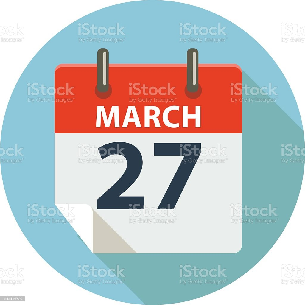 MARCH 27 vector art illustration