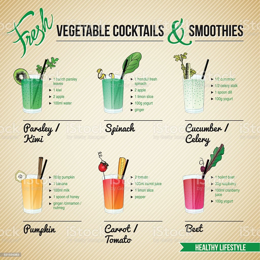 FRESH VEGETABLE COCKTAILS & SMOOTHIES vector art illustration