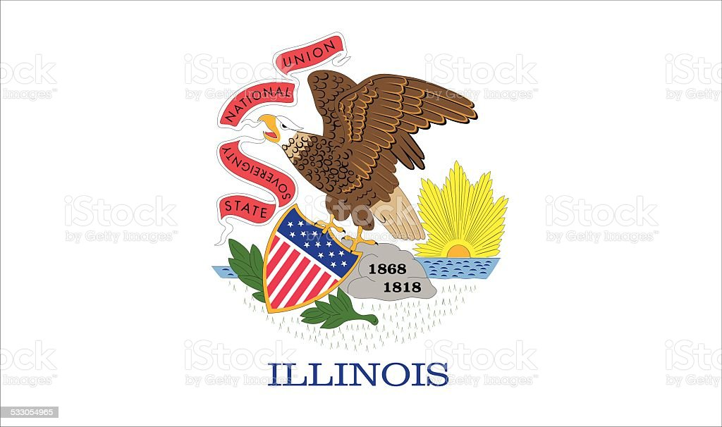 ILLINOIS STATE FLAG vector art illustration
