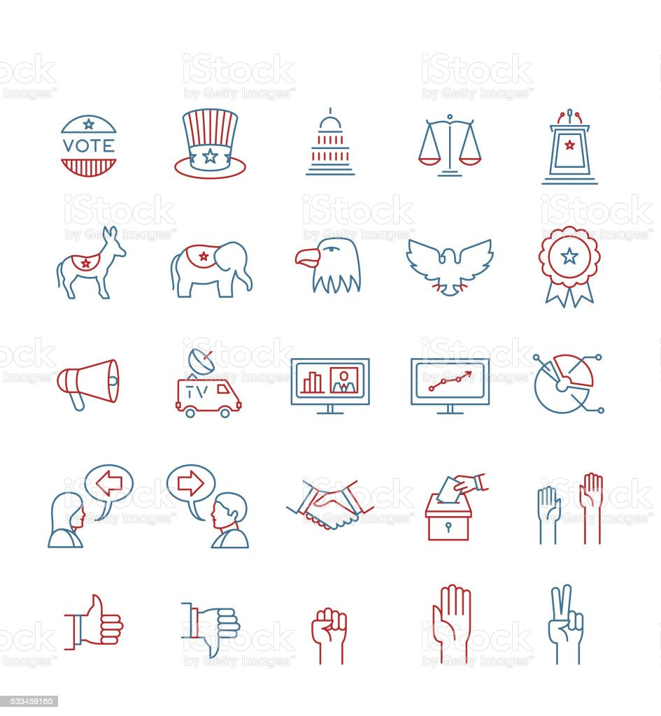 USA ELECTIONS ICON SET vector art illustration