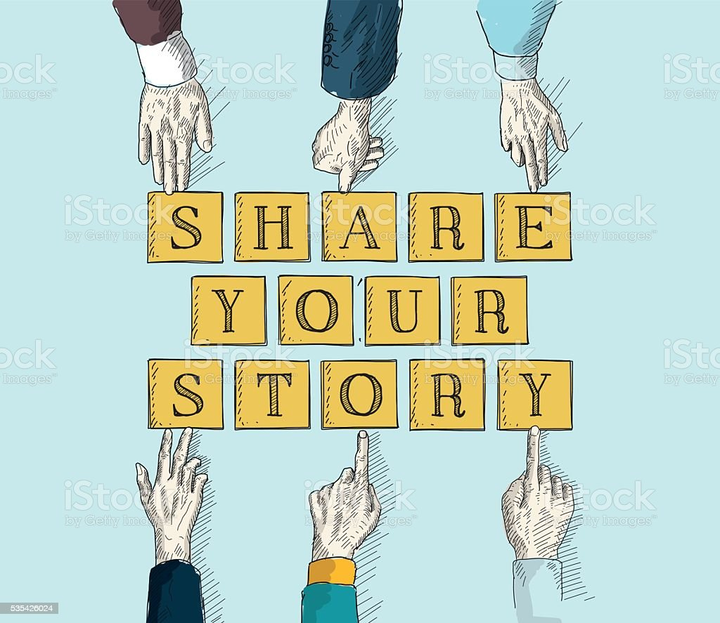 SHARE YOUR STORY vector art illustration