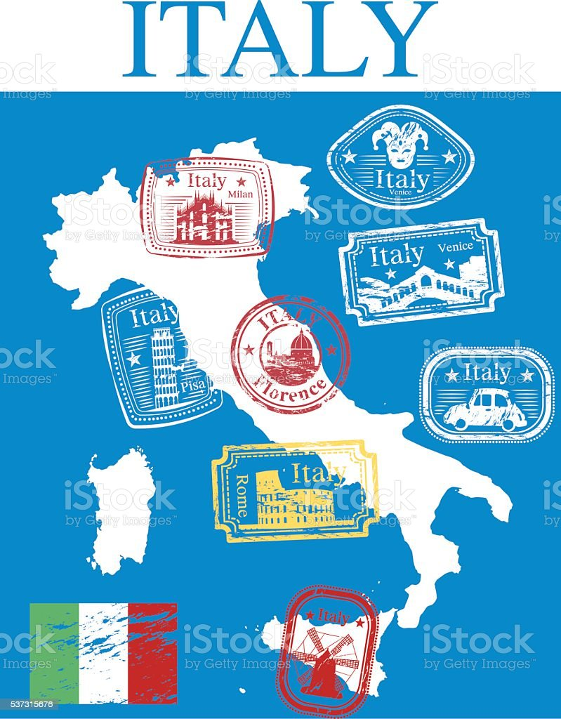 ITALY STAMPS MAP718 vector art illustration