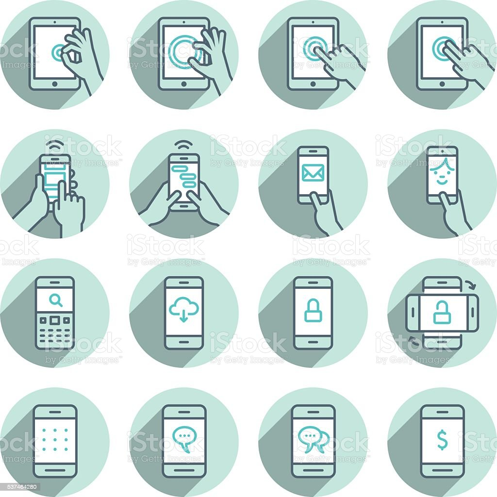 TABLET AND PHONE ICON SET vector art illustration