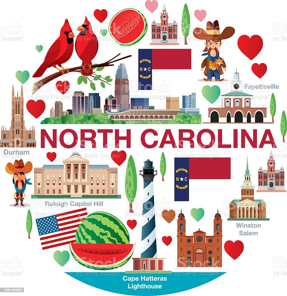 NORTH CAROLINA TRAVELS-9 vector art illustration
