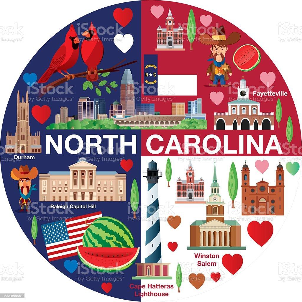 NORTH CAROLINA TRAVELSSS vector art illustration