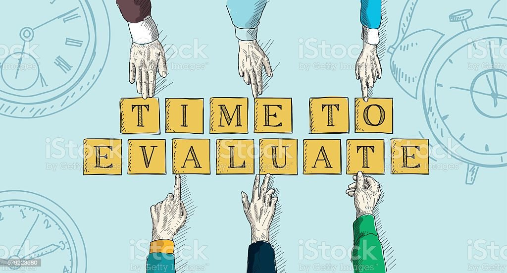 TIME TO EVALUATE vector art illustration