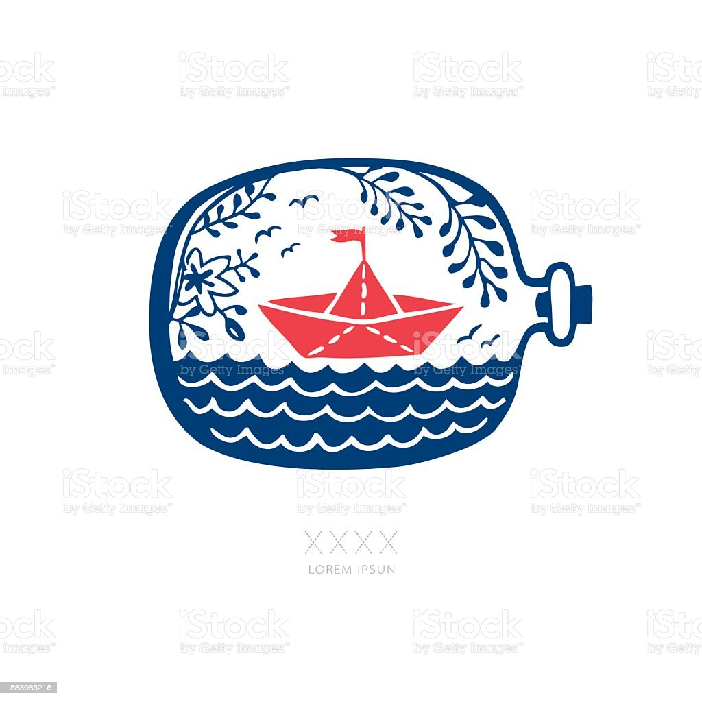 ORIGAMI PAPER BOAT IN A BOTTLE vector art illustration