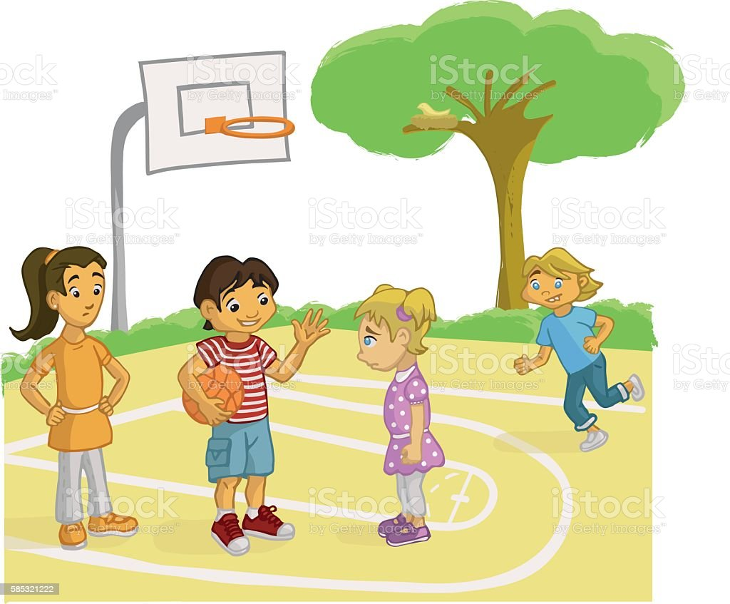 BOY PERSUADING A GIRL TO PLAY BASKET vector art illustration