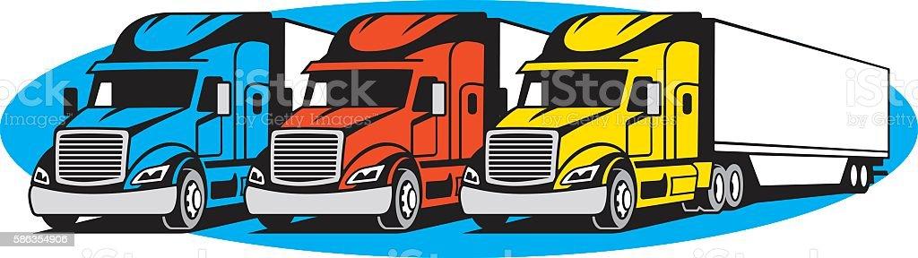 SEMI TRUCKS vector art illustration