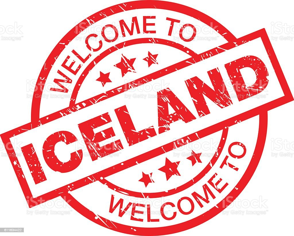 WELCOME TO ICELAND vector art illustration