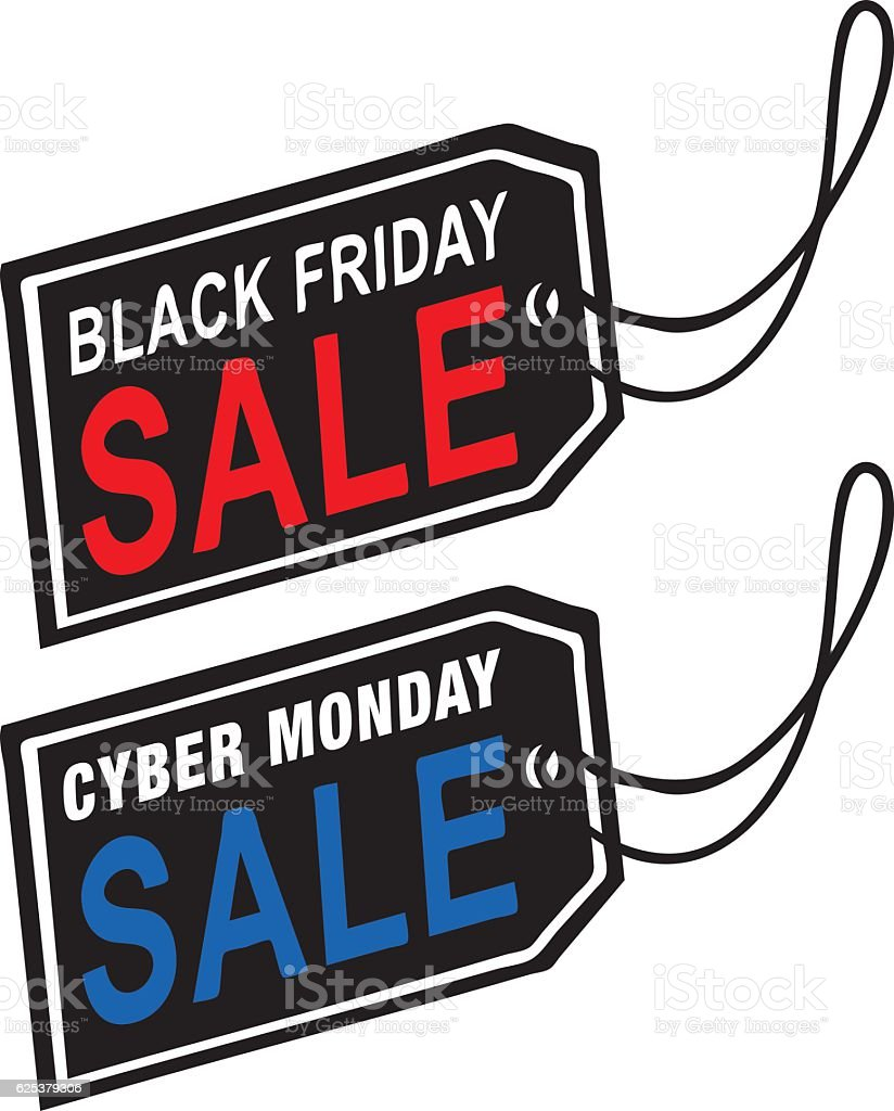 BLACK FRIDAY & CYBER MONDAY SALE TAG vector art illustration