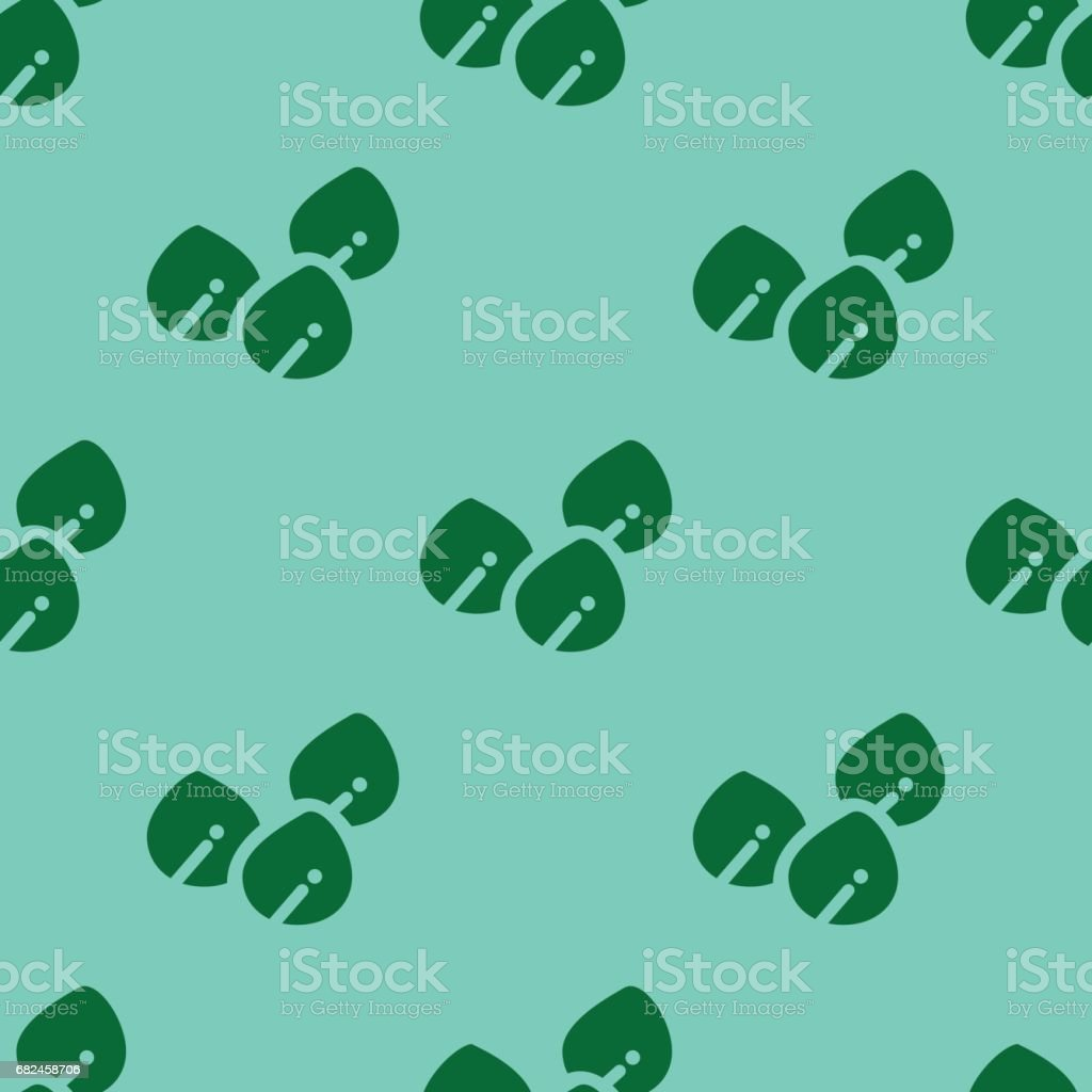 GREEN LEAVES PATTERN ON GREEN vector art illustration