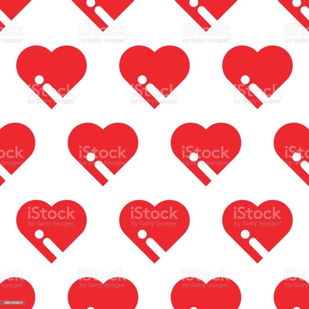 SEAMLESS BIG RED HEART vector art illustration