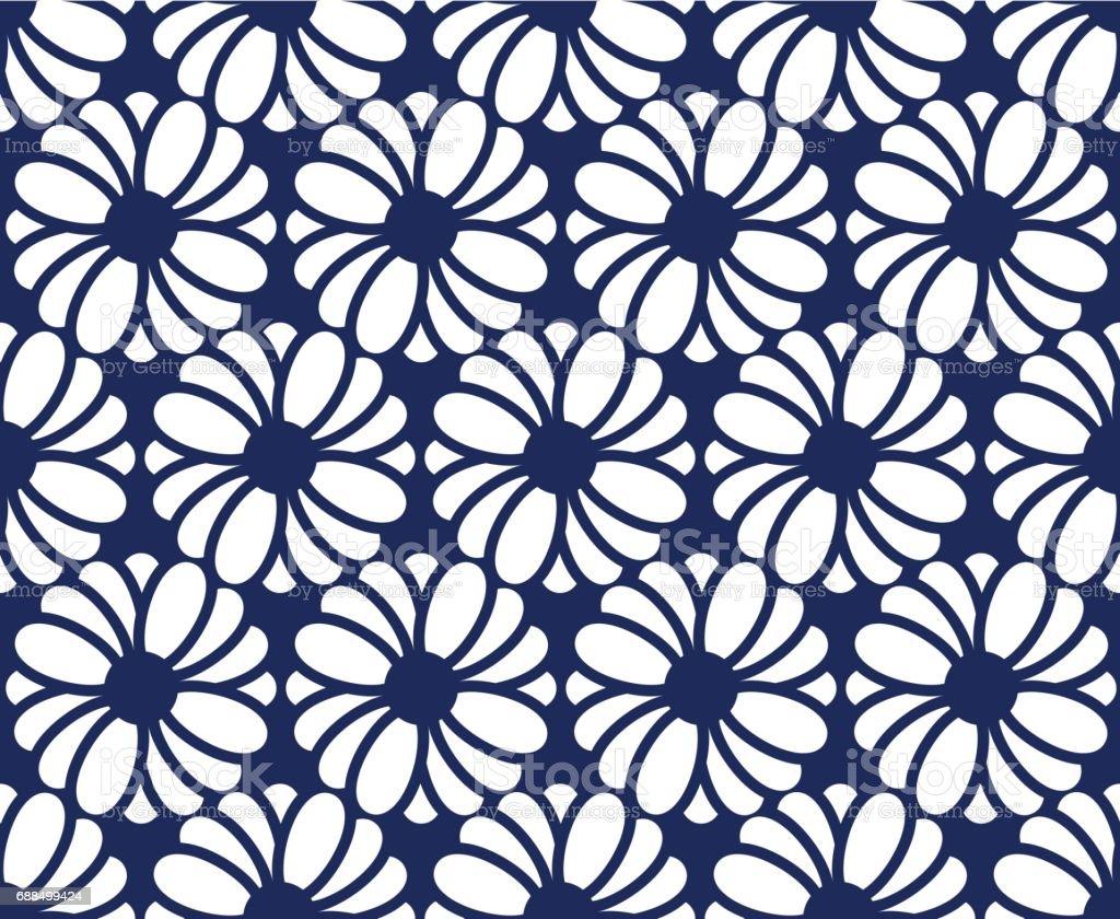 SEAMLESS FLOWER ON DARK BLUE vector art illustration