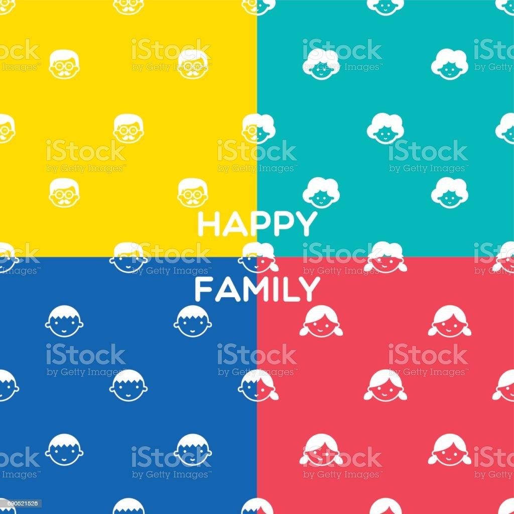 FAMILY PATTERN vector art illustration