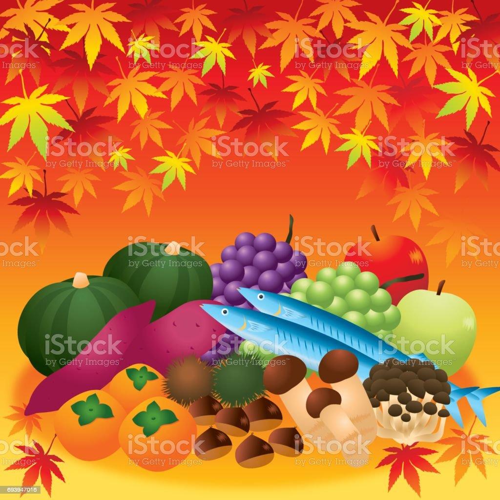 秋の味覚 vector art illustration