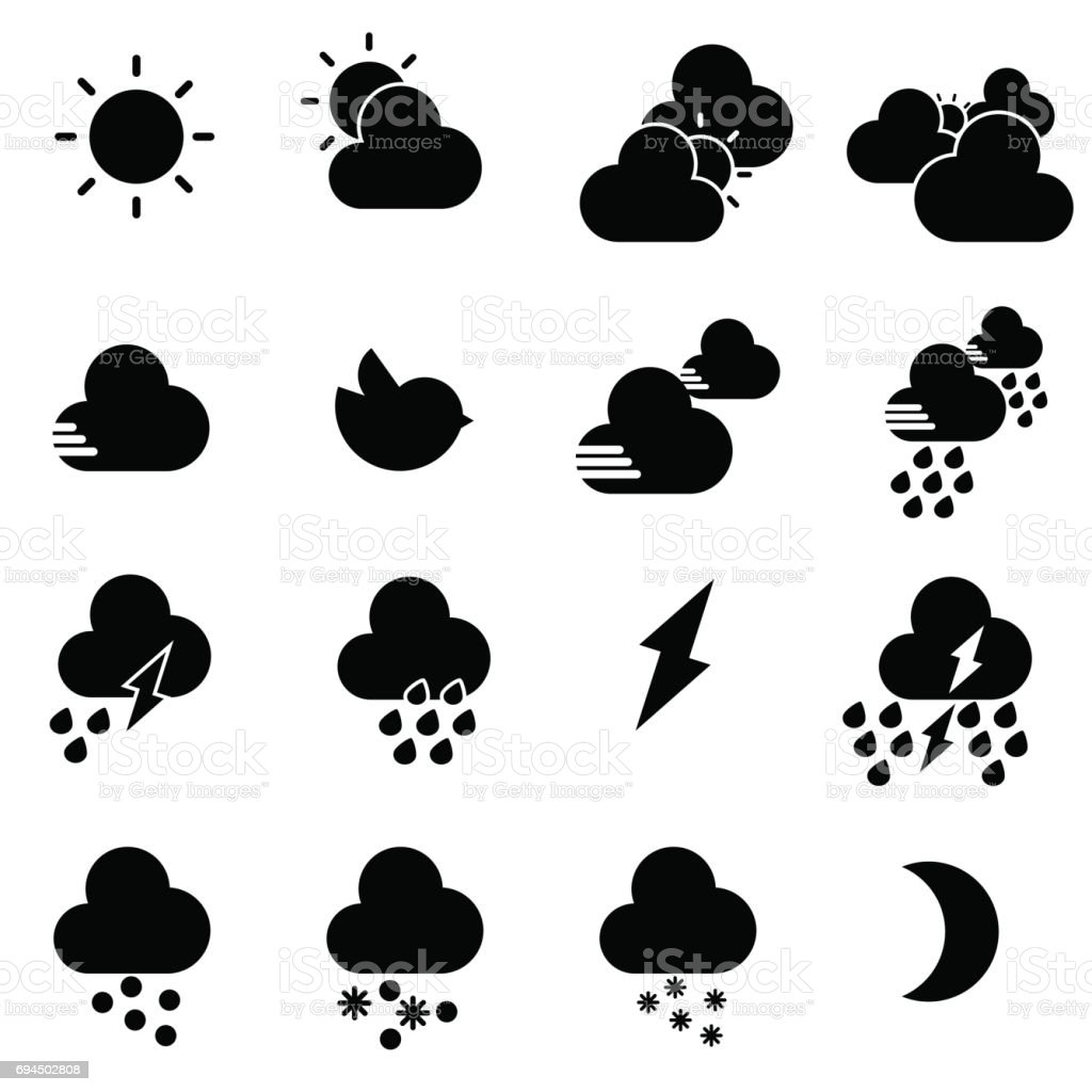 WEATHER ICON BLACK vector art illustration