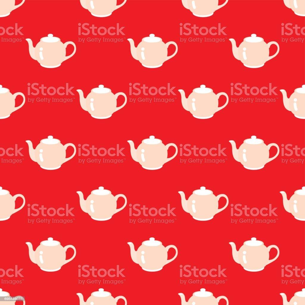 SEAMLESS TEA POT PATTERN vector art illustration