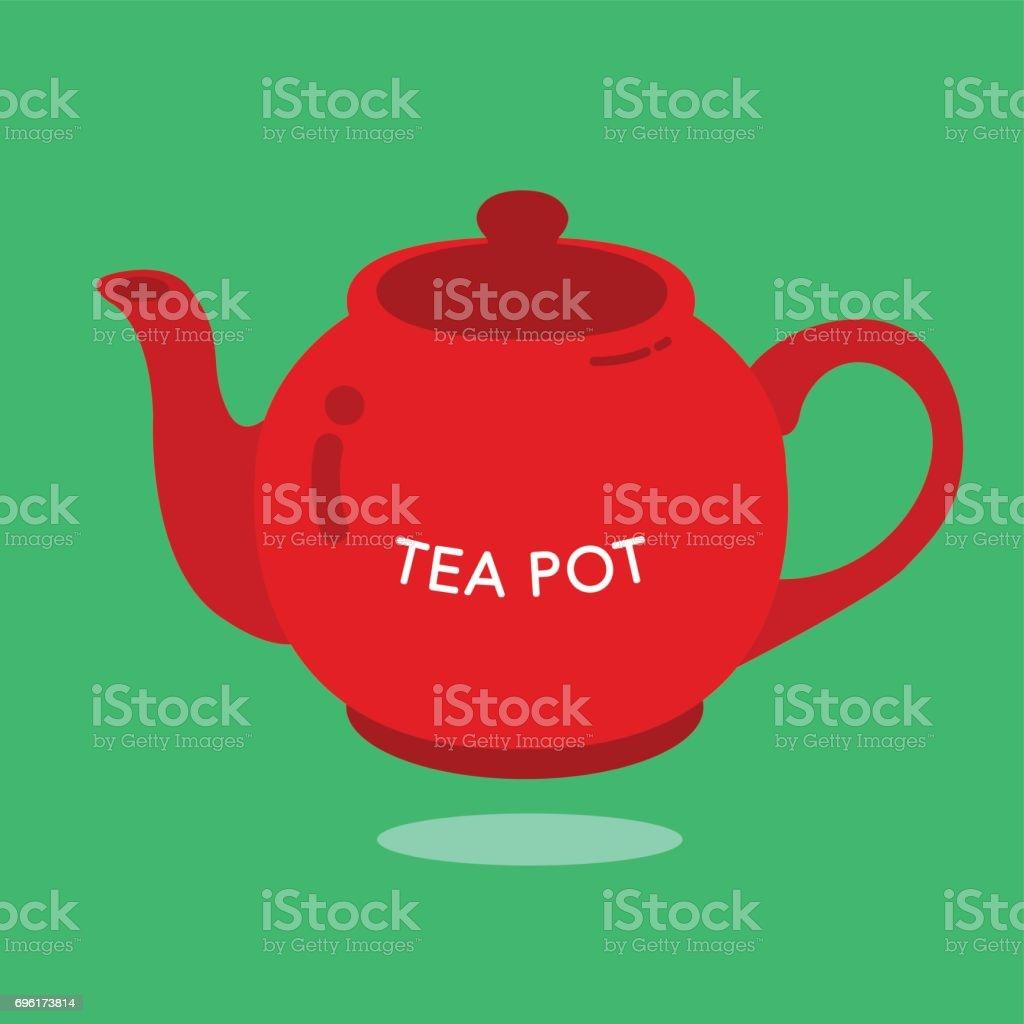 RED TEA POT vector art illustration
