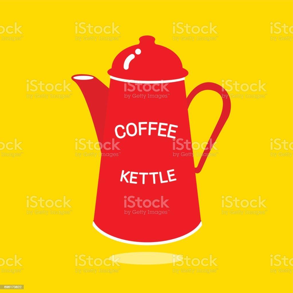RED COFFEE KETTLE vector art illustration