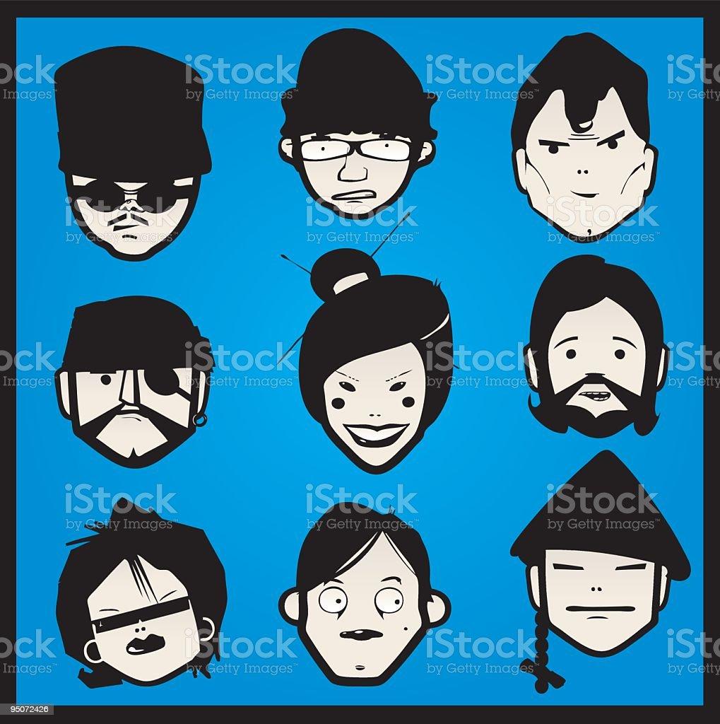 FACES BLUE vector art illustration