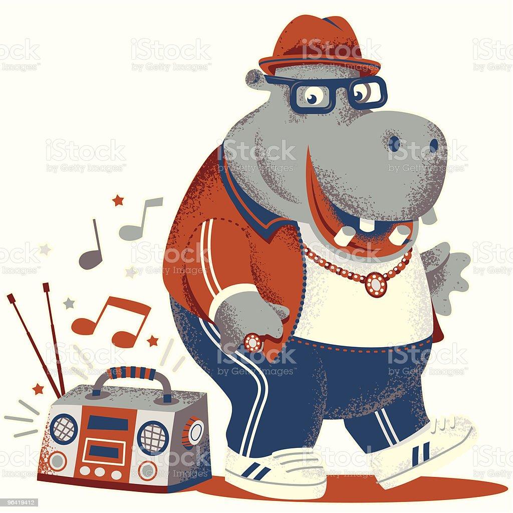 HIPPETY HIPPO HOP! vector art illustration