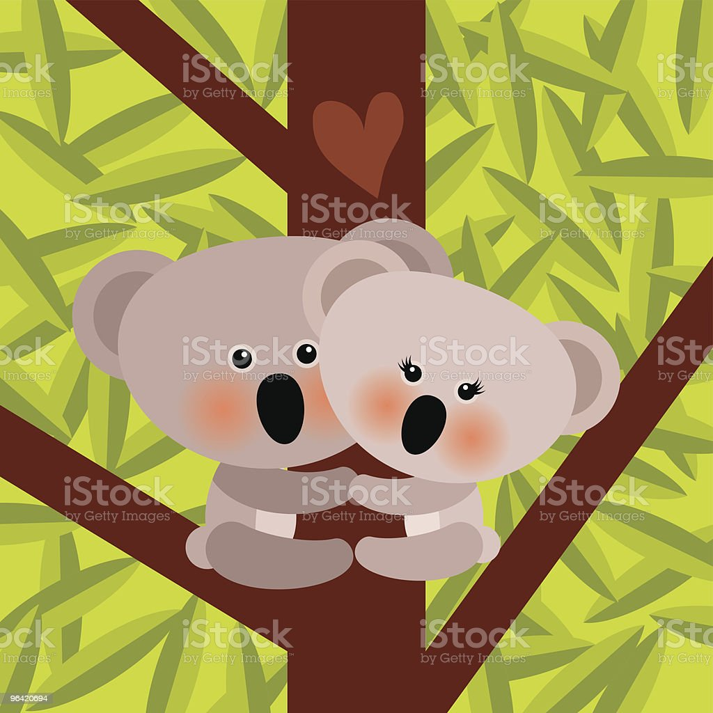 KOALA LOVE CLIMBING royalty-free stock vector art