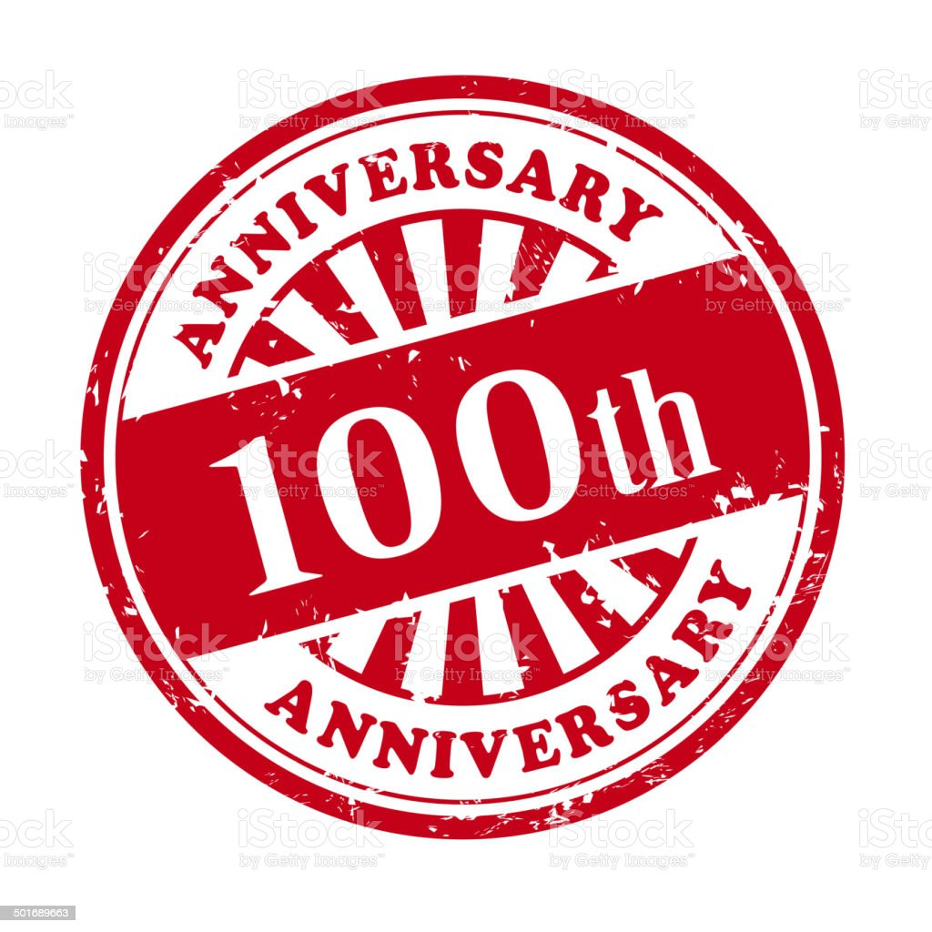 100th anniversary grunge rubber stamp royalty-free stock vector art
