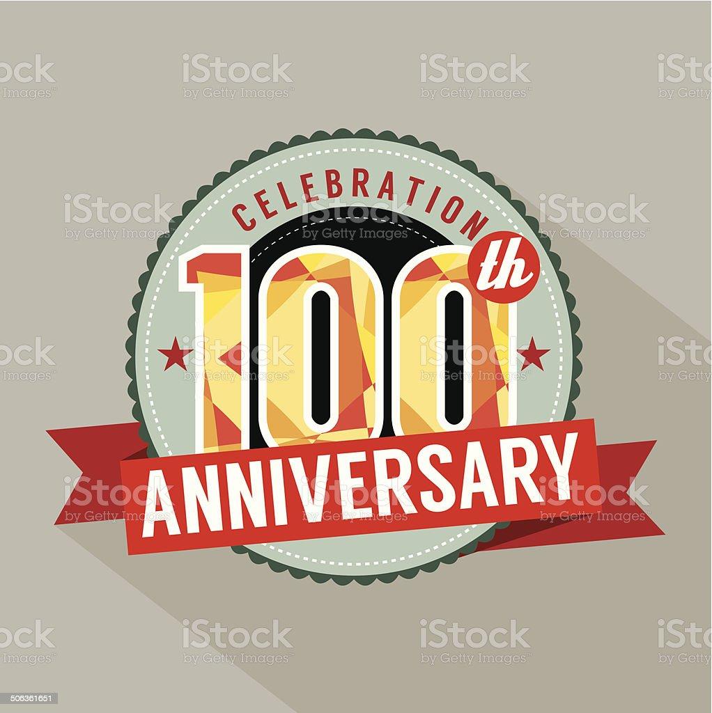 100th Years Anniversary Celebration Design vector art illustration