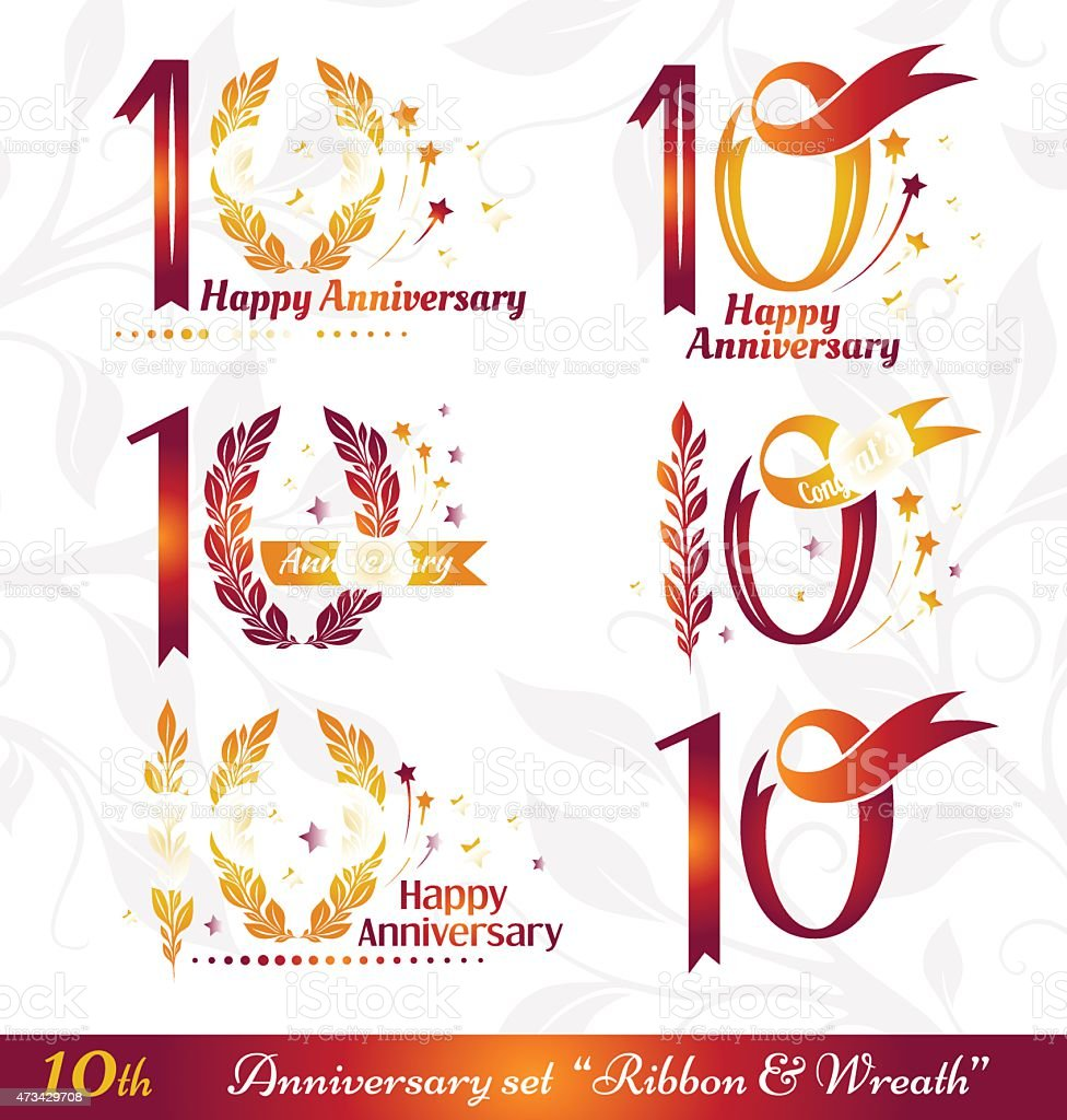 10th anniversary emblems vector art illustration