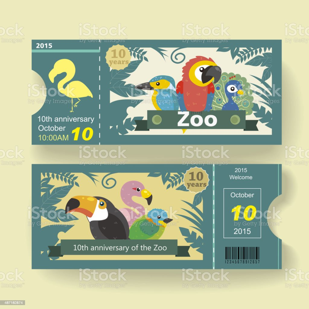 10th anniversary ticket design template for zoo vector art illustration