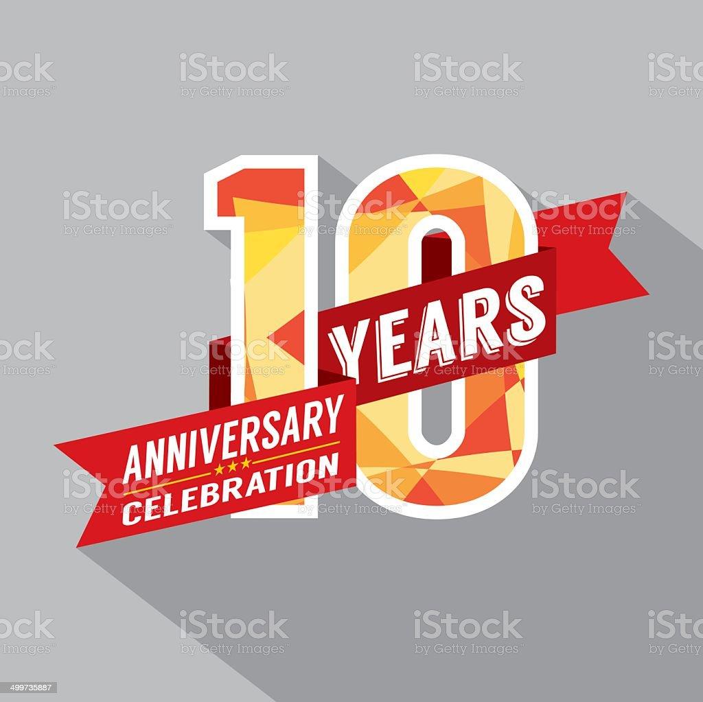 10th Years Anniversary Celebration Design vector art illustration