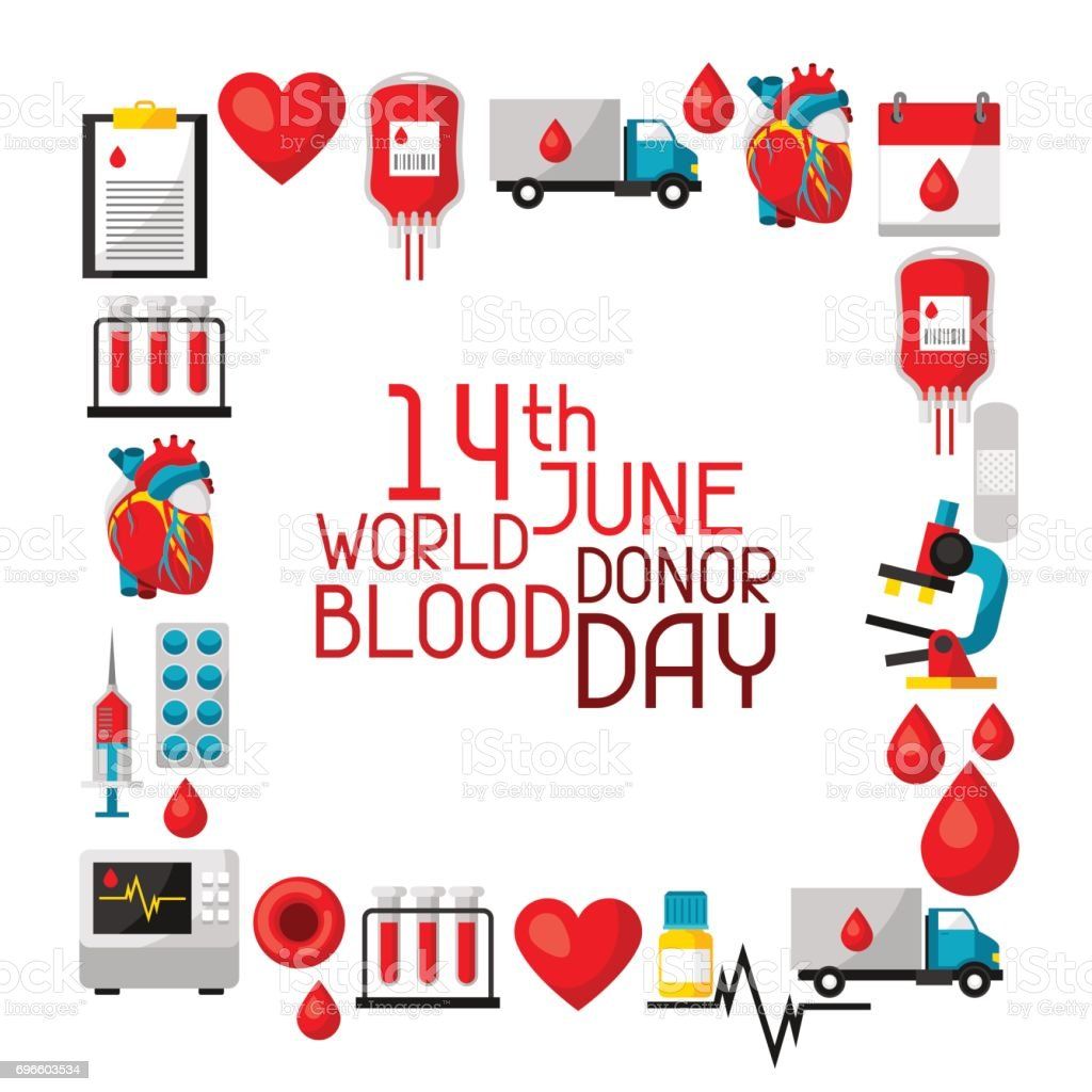 14t June world blood donor day. Background with blood donation items. Medical and health care objects vector art illustration