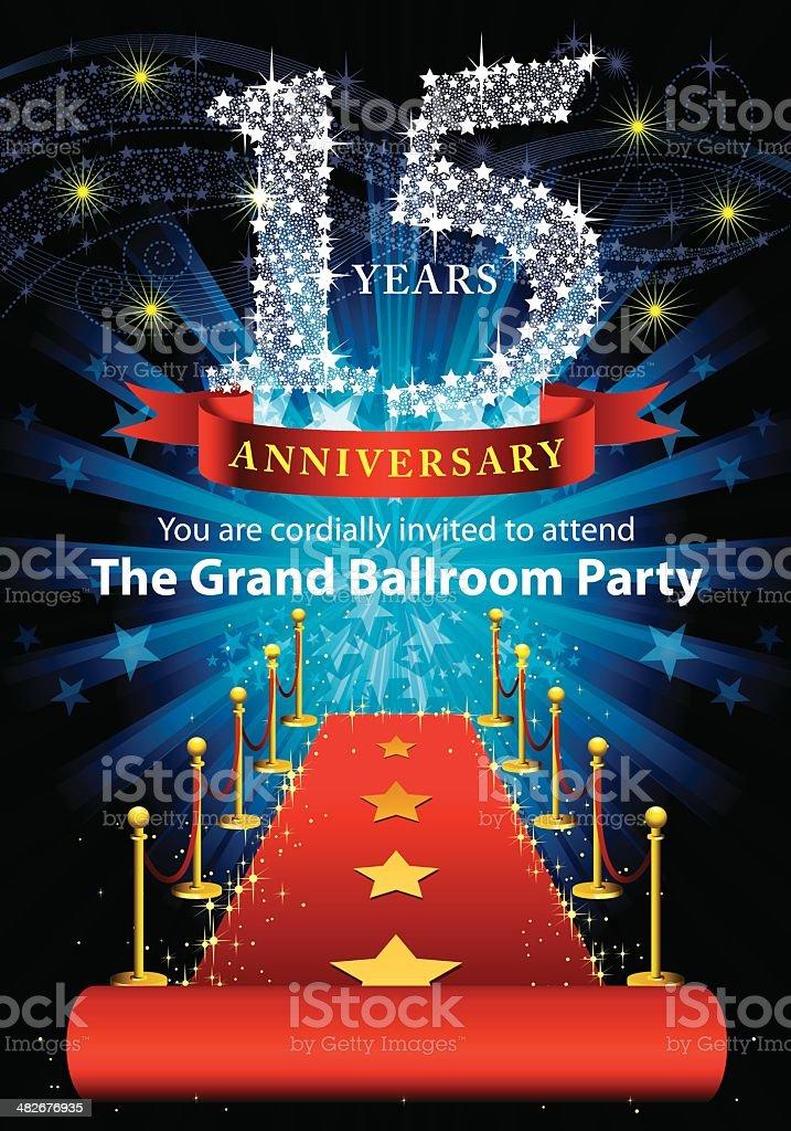 15th Anniversary Party vector art illustration