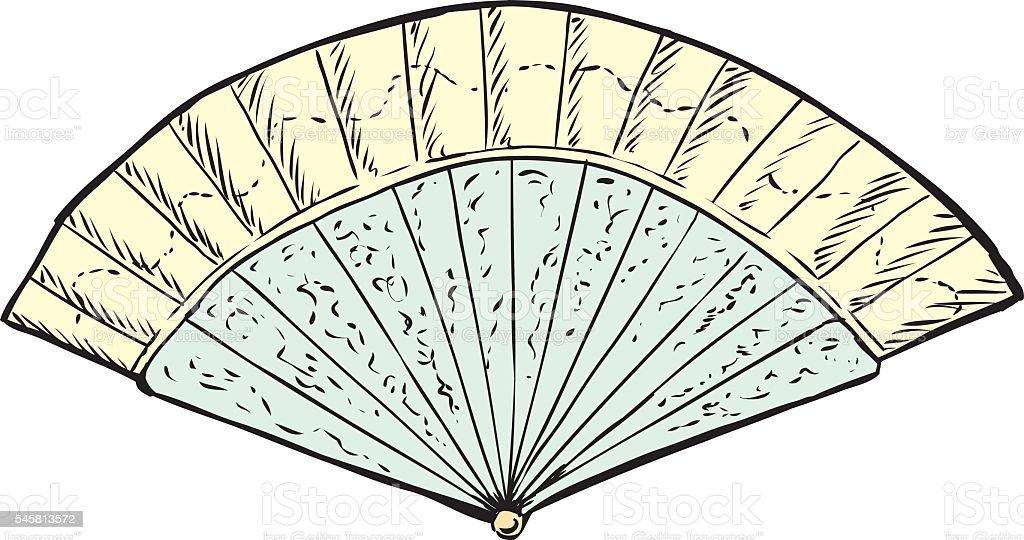 18th Century Hand Fan vector art illustration
