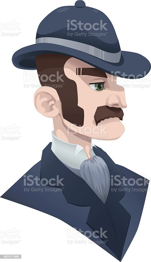 1920s High Society Brown Haired Man Wearing a Bowler Hat vector art illustration