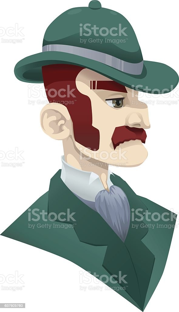 1920s High Society Red Haired Man Wearing a Bowler Hat vector art illustration