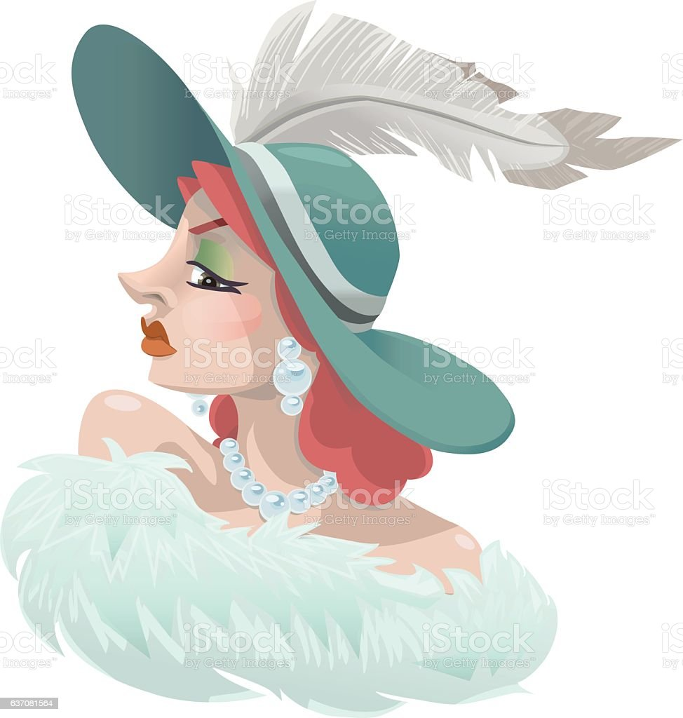 1920s High Society Red Head Woman with Feathered Hat vector art illustration