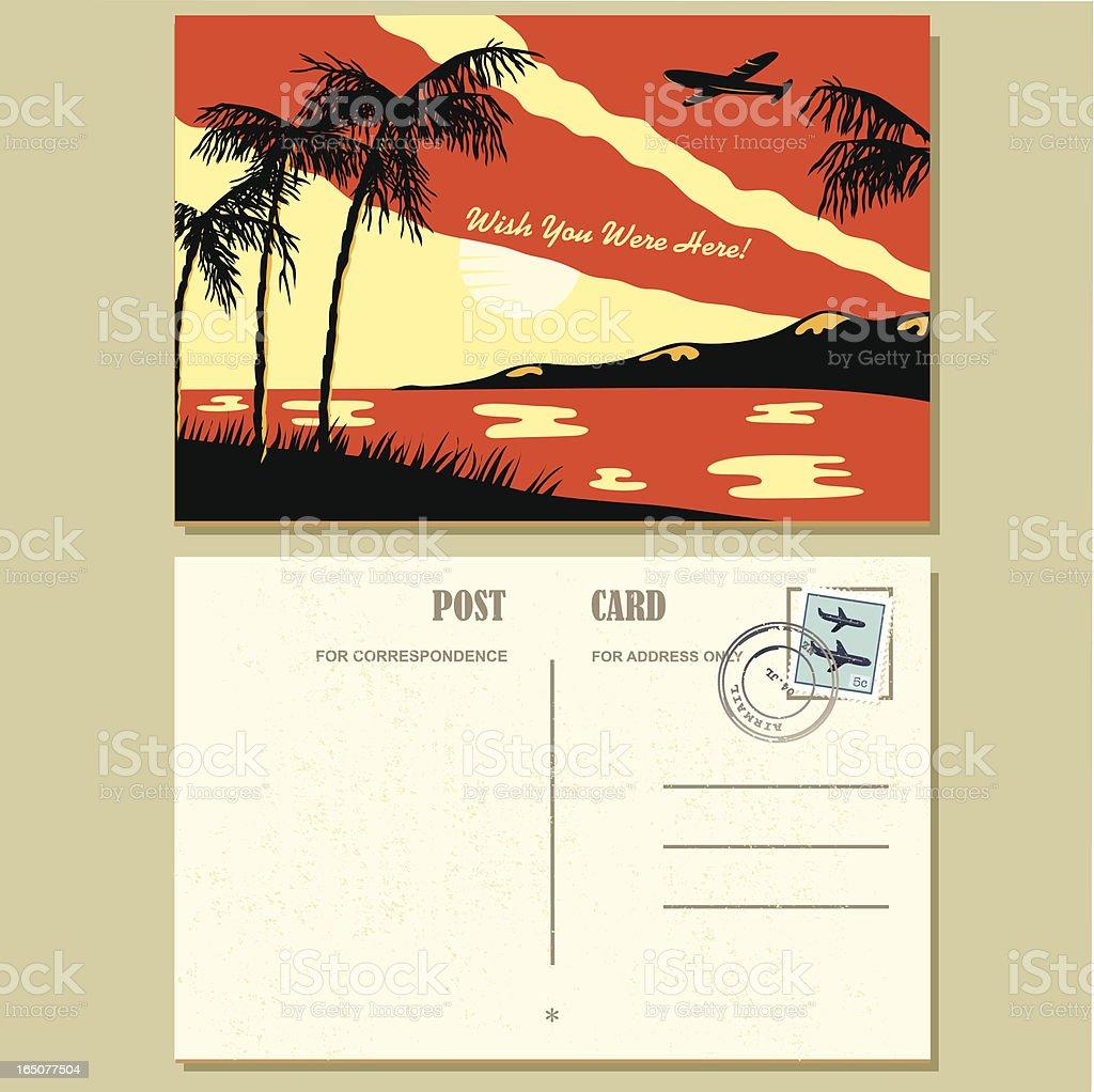 1940s Style Postcard vector art illustration