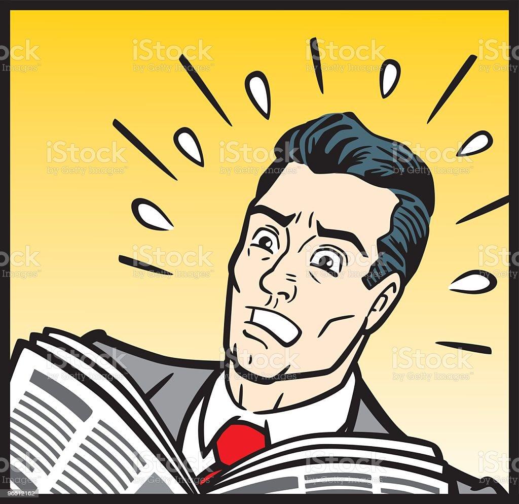 1950s Business Man In Panic vector art illustration