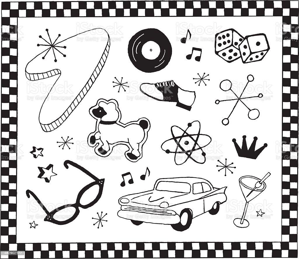 1950s Doodles royalty-free stock vector art