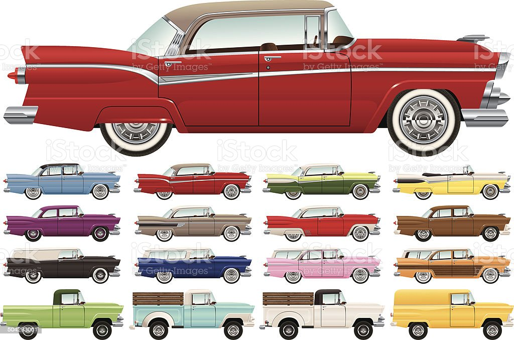 1950s Era Car Lineup vector art illustration