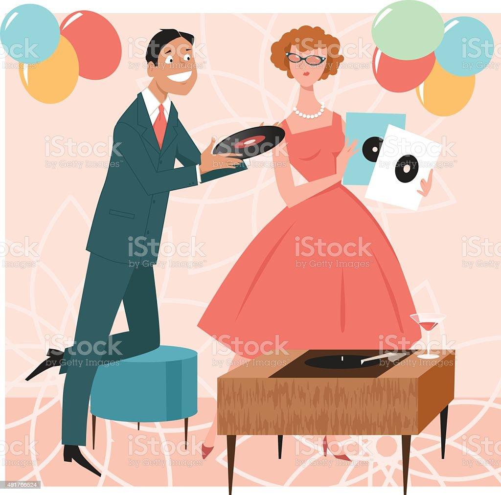 1950s party music vector art illustration