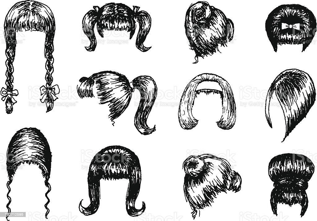 1960s hairdos vector art illustration