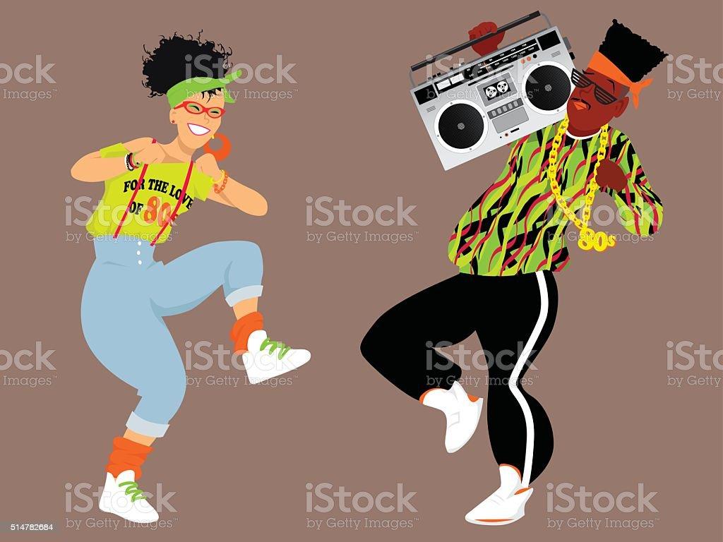 1980s hip hop vector art illustration
