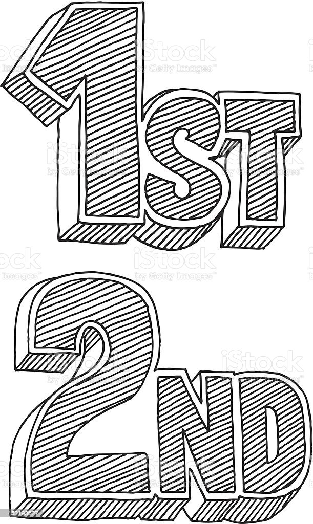 1st 2nd Place Cartoon Style Text Drawing royalty-free stock vector art