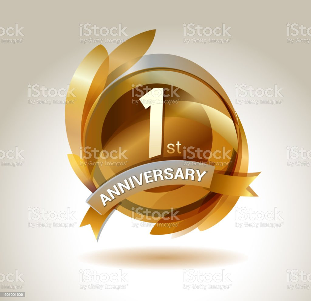 1st anniversary ribbon logo with golden circle and graphic elements vector art illustration