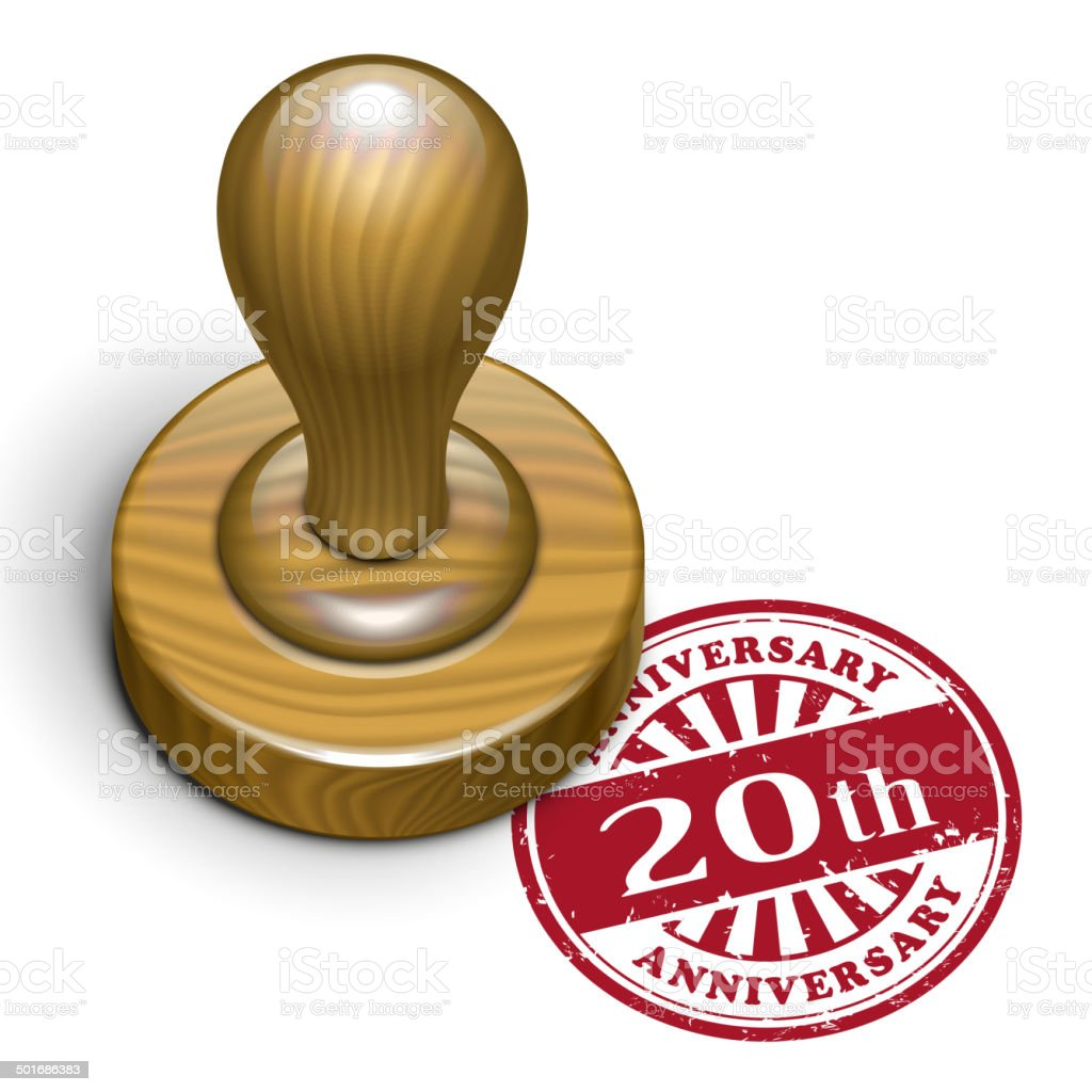 20th anniversary grunge rubber stamp royalty-free stock vector art