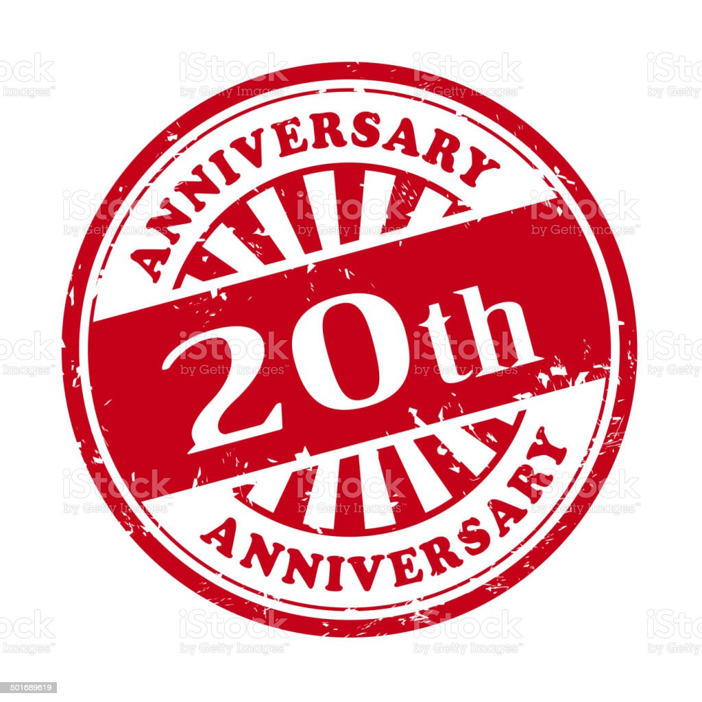 20th anniversary grunge rubber stamp vector art illustration