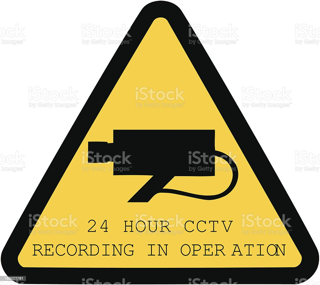24-hour CCTV recording in operation sign isolated on white royalty-free stock vector art